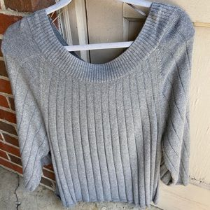 Ann Taylor Factory scoop neck grey sweater